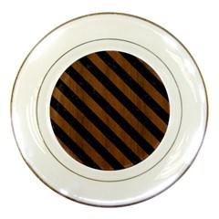 STR3 BK-MRBL BR-WOOD (R) Porcelain Plates