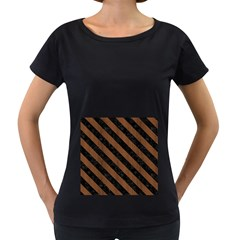STR3 BK-MRBL BR-WOOD (R) Women s Loose-Fit T-Shirt (Black)