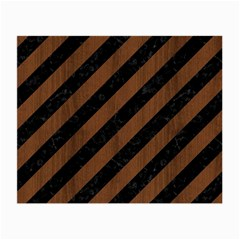 Stripes3 Black Marble & Brown Wood Small Glasses Cloth (2 Sides)