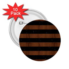 Stripes2 Black Marble & Brown Wood 2 25  Button (10 Pack)