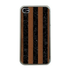 STR1 BK-MRBL BR-WOOD Apple iPhone 4 Case (Clear)