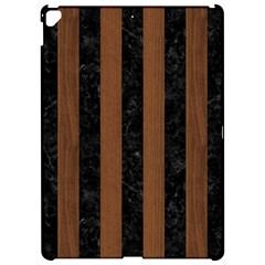 Stripes1 Black Marble & Brown Wood Apple Ipad Pro 12 9   Hardshell Case