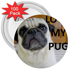 Pug Love W Picture 3  Buttons (100 pack)