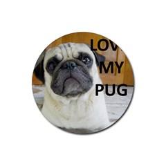 Pug Love W Picture Rubber Coaster (Round)