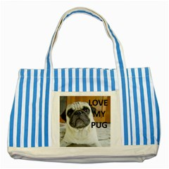 Pug Love W Picture Striped Blue Tote Bag