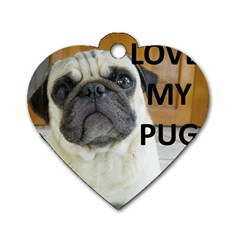 Pug Love W Picture Dog Tag Heart (Two Sides)