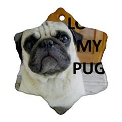 Pug Love W Picture Ornament (Snowflake)