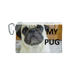 Pug Love W Picture Canvas Cosmetic Bag (S)