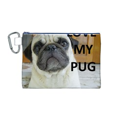Pug Love W Picture Canvas Cosmetic Bag (M)