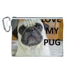 Pug Love W Picture Canvas Cosmetic Bag (L)