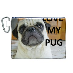 Pug Love W Picture Canvas Cosmetic Bag (XL)