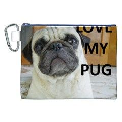 Pug Love W Picture Canvas Cosmetic Bag (XXL)
