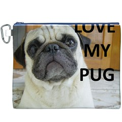 Pug Love W Picture Canvas Cosmetic Bag (XXXL)