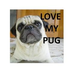Pug Love W Picture Small Satin Scarf (Square)