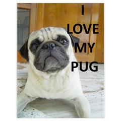 Pug Love W Picture Drawstring Bag (Large)