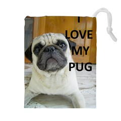 Pug Love W Picture Drawstring Pouches (Extra Large)