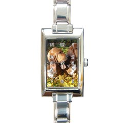 2 Bassets Rectangle Italian Charm Watch