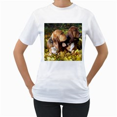 2 Bassets Women s T-Shirt (White) (Two Sided)