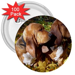 2 Bassets 3  Buttons (100 pack)