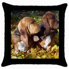 2 Bassets Throw Pillow Case (Black)