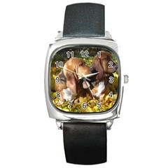 2 Bassets Square Metal Watch