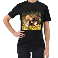 2 Bassets Women s T-Shirt (Black) (Two Sided)