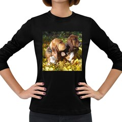 2 Bassets Women s Long Sleeve Dark T-Shirts
