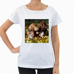 2 Bassets Women s Loose-Fit T-Shirt (White)