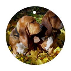 2 Bassets Round Ornament (Two Sides)