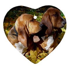 2 Bassets Heart Ornament (Two Sides)