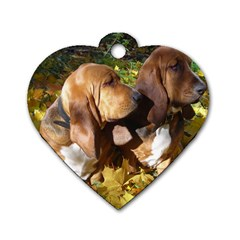 2 Bassets Dog Tag Heart (One Side)