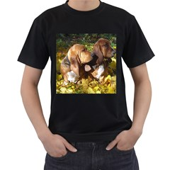 2 Bassets Men s T-Shirt (Black)