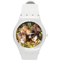 2 Bassets Round Plastic Sport Watch (M)