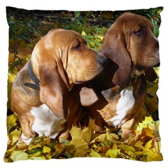 2 Bassets Large Cushion Case (One Side)