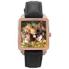2 Bassets Rose Gold Leather Watch