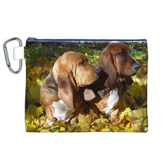 2 Bassets Canvas Cosmetic Bag (XL)