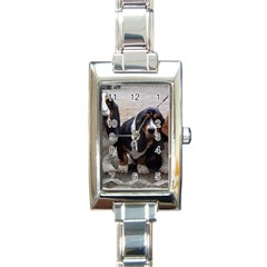 3 Basset Hound Puppies Rectangle Italian Charm Watch