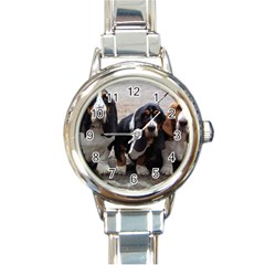 3 Basset Hound Puppies Round Italian Charm Watch