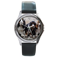 3 Basset Hound Puppies Round Metal Watch