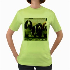 3 Basset Hound Puppies Women s Green T-Shirt