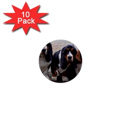 3 Basset Hound Puppies 1  Mini Buttons (10 pack)