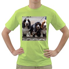 3 Basset Hound Puppies Green T-Shirt