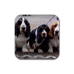 3 Basset Hound Puppies Rubber Square Coaster (4 pack)