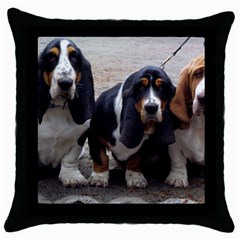 3 Basset Hound Puppies Throw Pillow Case (Black)