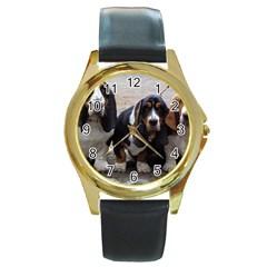 3 Basset Hound Puppies Round Gold Metal Watch