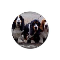 3 Basset Hound Puppies Rubber Round Coaster (4 pack)
