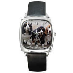 3 Basset Hound Puppies Square Metal Watch