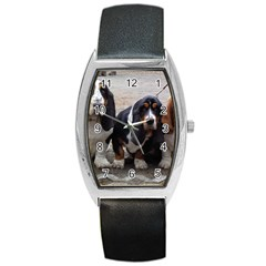 3 Basset Hound Puppies Barrel Style Metal Watch