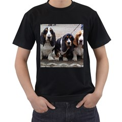 3 Basset Hound Puppies Men s T-Shirt (Black) (Two Sided)