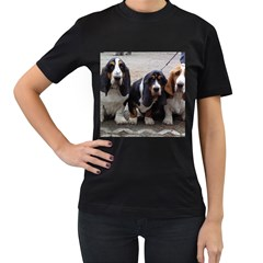 3 Basset Hound Puppies Women s T-Shirt (Black) (Two Sided)